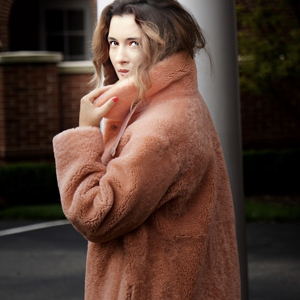 Coral Dyed Shearling Coat
