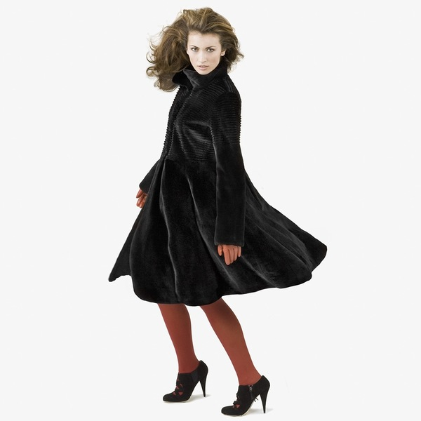 Black Dyed Sheared and Grooved Mink Coat