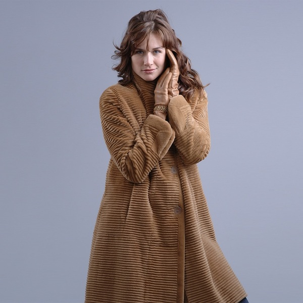 Camel Dyed Sheared and Grooved Mink Coat